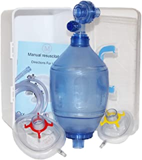 CPR Training Bag Valve Mask (BVM), Adult/Child Size in Plastic Carry Case, MCR Medical Supply, BVM-3081-001