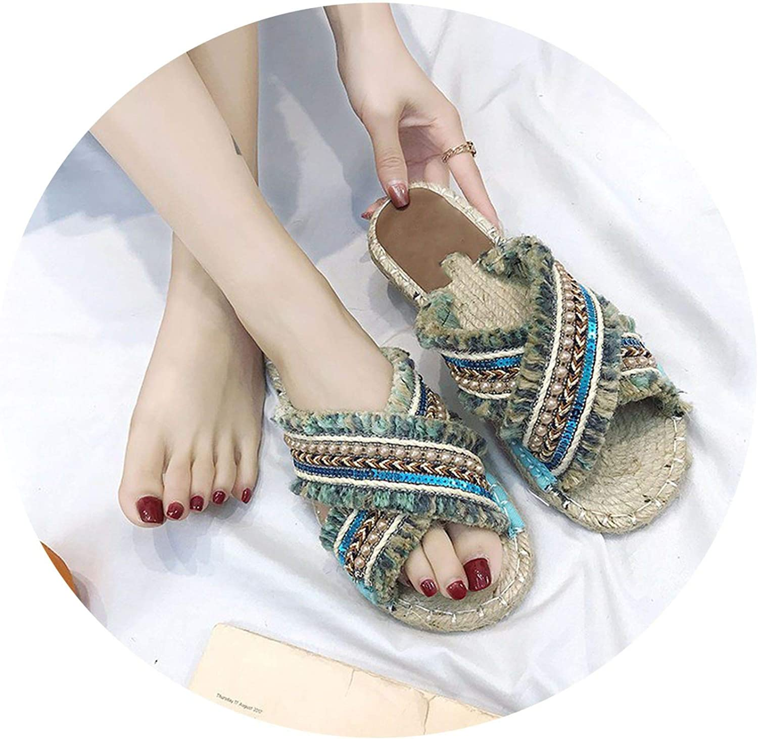 Monicas-Dream Bohemian Women Linen Slippers Striped Ribbon Cork Sandals Flat Non-Slip Flip Flop Home shoes Casual Straw Beach Slipper