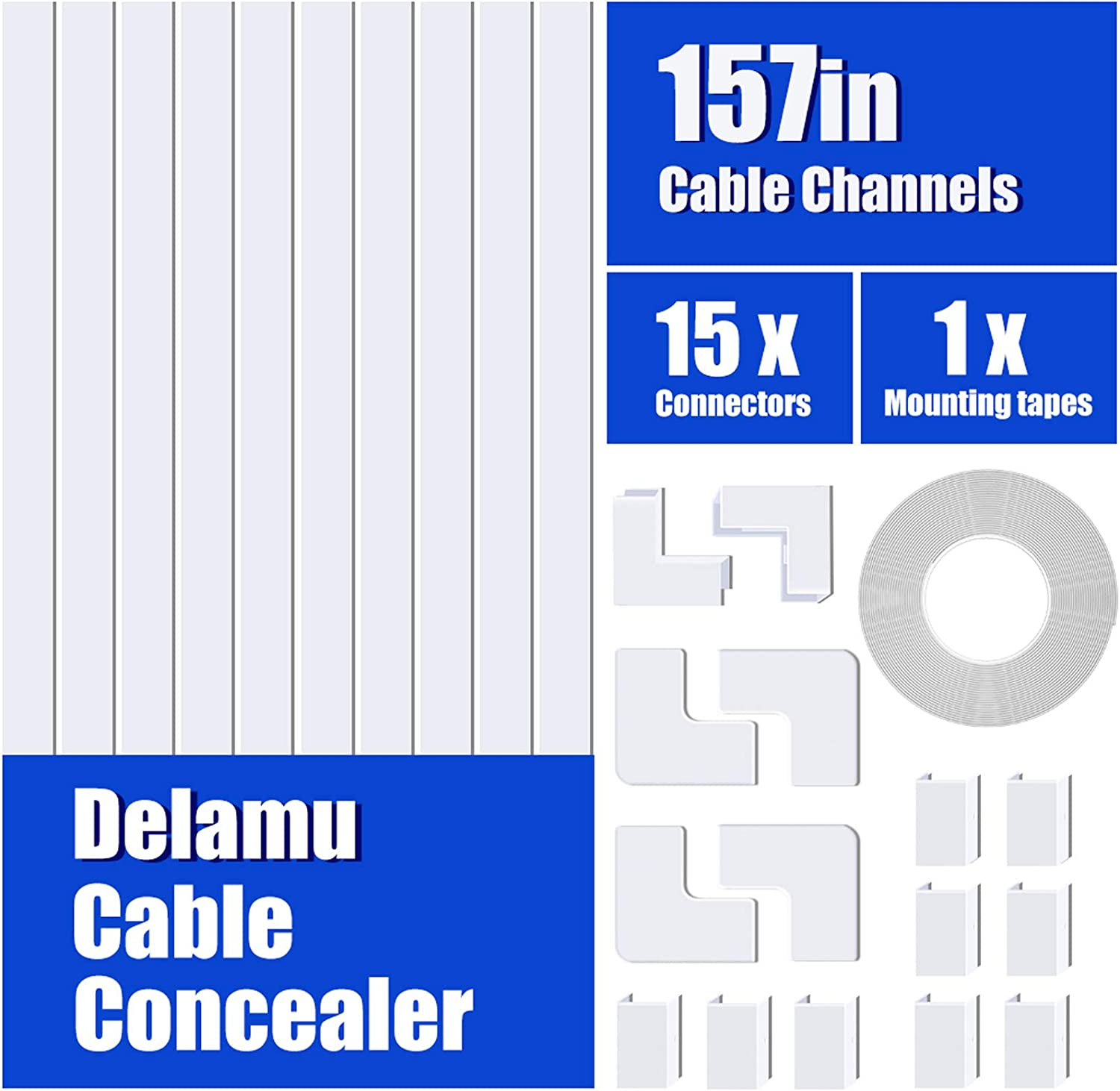 Speaker Wire or TV Cables in Home or Office 10X L15.7in Paintable Wire Channel to Hide a Single Power Cord CC03 Brown H0.4in One-Cord Cable Concealer W0.59in 157in Cord Cover PVC Wire Molding