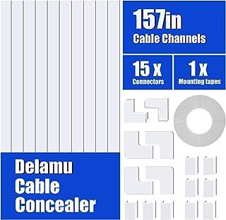 """قناة كونسيلر كبل أحادية السلك من شركة Delamu، نظام إدارة خفي للكبل الصغير 157"""" ، طقم مسار قابل للطلاء لإخفاء كابل إيثرنت و..."""