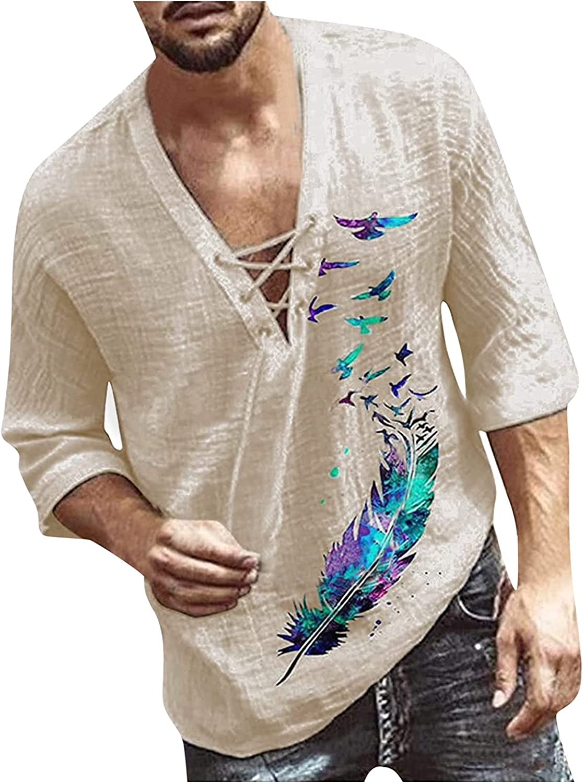 Men Vintage Long Sleeve Shirt Casual V Neck Blouses Tops Camisa Boho Style Slim Fit