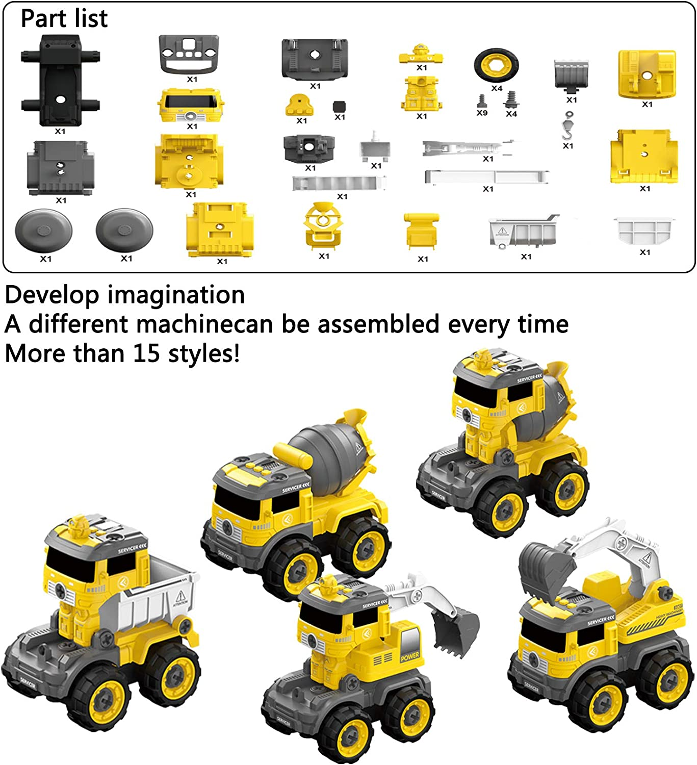 5 in 1 Take Apart Toys with Electric Drill Converts to Remote Control Car for Boys 3 4 5 6 7 8 Year Old Include Construction Excavator Truck Crane Kids DIY Educational Birthday