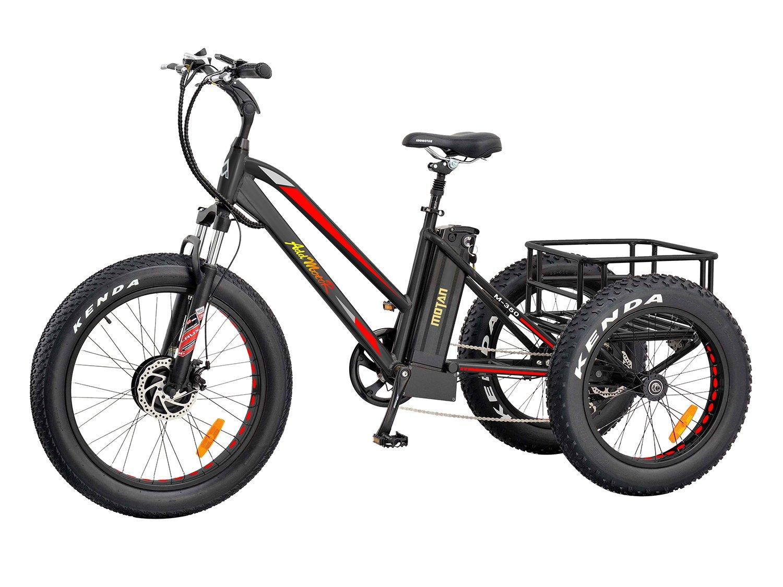 Addmotor Triciclo eléctrico 24 pulgadas Gran numático bicicleta eléctrica Triciclo bicicletas de tres ruedas 500W 10.4A Batería de litio con trasera cesta Triciclo de carga M-350 E-bike (Rojo): Amazon.es: Deportes y aire