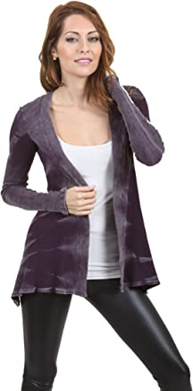 d3d233cdf4d54 Vocal Junior Mineral Wash Western Cowgirl Vintage Original Tunic Cardigan  in Plum