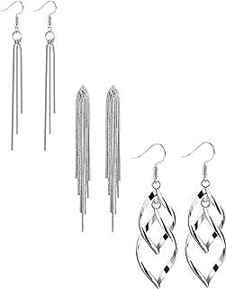 ORAZIO 3 Pairs Dangle Earrings for Women Girls Double Twist Wave Drop Long Tassel Earrings
