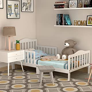 HONEY JOY Toddler Bed Frame, Solid Rubber Wood Frame...
