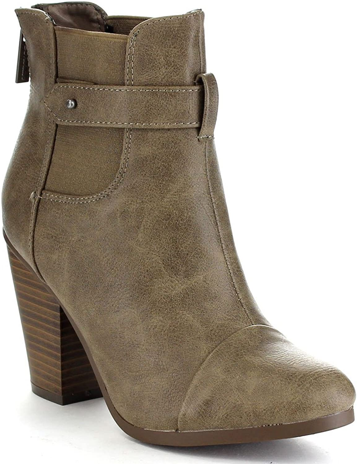 Breckelles GAIL-23 Women's Classical Chunky Stacked Heel Chelsea Ankle Booties