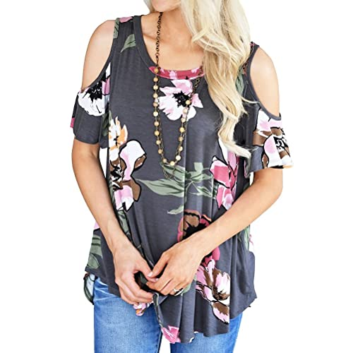 0214cfe8d1 Ezcosplay Women Casual Cold Shoulder Tunic Tops Loose Floral Summer Blouse  Shirt