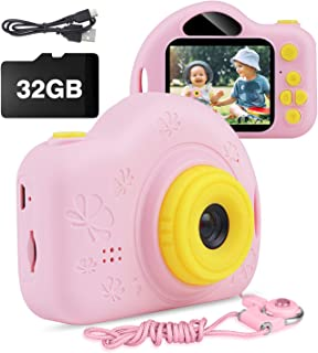 Kids Camera, AIMASON Digital Video Camera Gift for Age 3 4 5 6 7 8 9 10 Year Old Girls, Mini Rechargeable and Shockproof Camera Creative DIY Camcorder for Little Girl with 32GB SD Card (Pink)