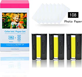 KCMYTONER 1 Pack Compatible for Canon KP-108IN KP108 3 Color Ink Cartridge and 108 Sheets Paper Set 4