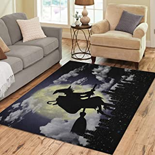 Semtomn Area Rug 2' X 3' Blue Stocking 3D Epiphany Broom in The Night Sweets Home Decor Collection Floor Rugs Carpet for Living Room Bedroom Dining Room