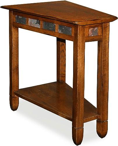 Leick Rustic Oak Slate Tile Recliner Wedge End Table