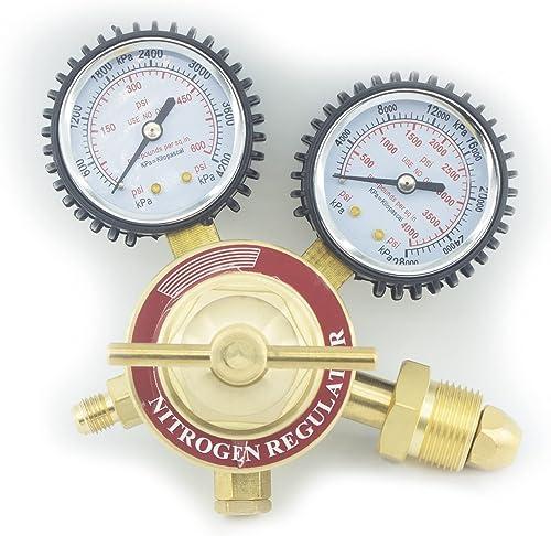 discount RX WELD Nitrogen Regulator with 0-400 online PSI Delivery Pressure Equipment Brass new arrival Inlet Outlet Connection Gauges outlet online sale