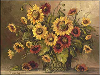 Ceramic Tile Mural - Sunflower Bouquet - by Barbara Mock - Kitchen backsplash/Bathroom Shower