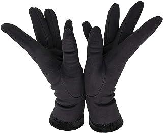 Sebeto Un paio di Guanti Moda Donna Eleganti Invernali e Caldi in Velluto Taglia Unica neri ricamo tre cordoni sul dorso M...