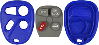 qualitykeylessplus Blue Replacement Case and Pad 4 Button Keyless Remote Key Fob FCC ID ABO0204T Free KEYTAG