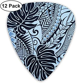 Diseños de Tapa de tatuaje polinesio en púas de guitarra azules finas, paquete de 12 púas de guitarra coloridas para niños