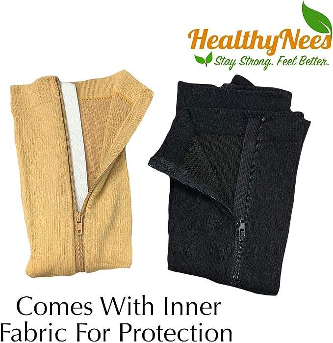 HealthyNees Open Toe 15-20 mmHg Zipper Compression Big Plus Extra Wide Calf Sock
