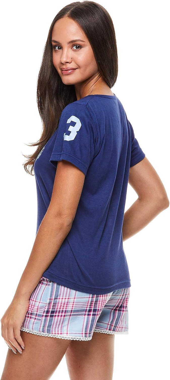U.S. Polo Assn. Womens Short Sleeve Shirt and Pajama Shorts Lounge Sleep Set