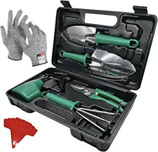 Sponsored Ad - CHL Garden Tools Set 8 Pieces Stainless Steel Heavy Duty Garden Supplies with Carrying Storage Case Weeder ...
