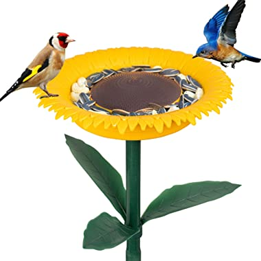 FUNPENY Wild Bird Feeder and Bath for Outside, Garden Hummingbirds Standing Bowl Bath Sunflower Bird feeders Stakes Decor for