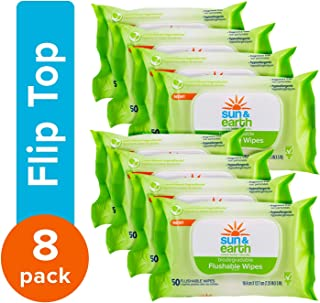 Natural Flushable Wipes, Biodegradable, Unscented by Sun & Earth, Resealable for Travel, 50Count, Pack of 8