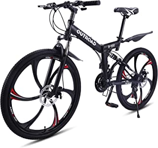 Outroad Mountain Bike 21 Speed 26 inch Wheels Dual Suspension Non-Slip Folding Bike for Adults