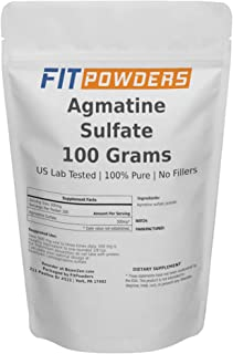 Agmatine Sulfate Powder 100g (100 Grams, 200 Servings) 100% Pure, Strength and Pump (Nitric Oxide) Supplement by FitPowders