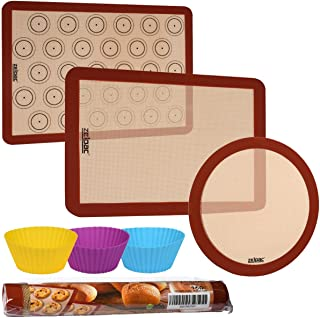 Zelpac Silicone Baking Mats 3 Pack - Reusable Nonstick Liners for Baking Pans and Cookie Sheets - Large, Medium and Round - Microwave, Oven and Dishwasher Safe - Bonus Silicone Muffin Cups
