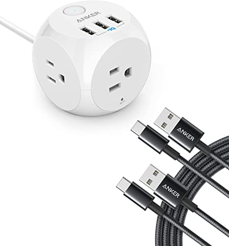 lowest Anker Type C lowest Charger Premium Nylon USB Cable & PowerPort Cube USB with 3 Outlets and popular 3 USB Ports online sale