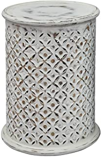 Jofran Global Archive Drum Table - Antique White, 17