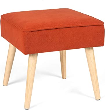 Homebeez Ottoman Stool Cube Foot Rest Coffee Table with Wood Legs -Orange