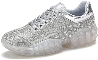 Women's Diamonds Sneakers Round Toe Lace Up Fashion Wedge Platform Loafers Walking Air Cushion Shoes Silver Faux Leather U...