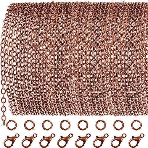 33 Piedi Catena di Rame Rosso Antico Collana di Link con 30 Pezzi Anelli di Salto e 20 Pezzi Chiusure per Fai Da Te Creazione di Gioielli