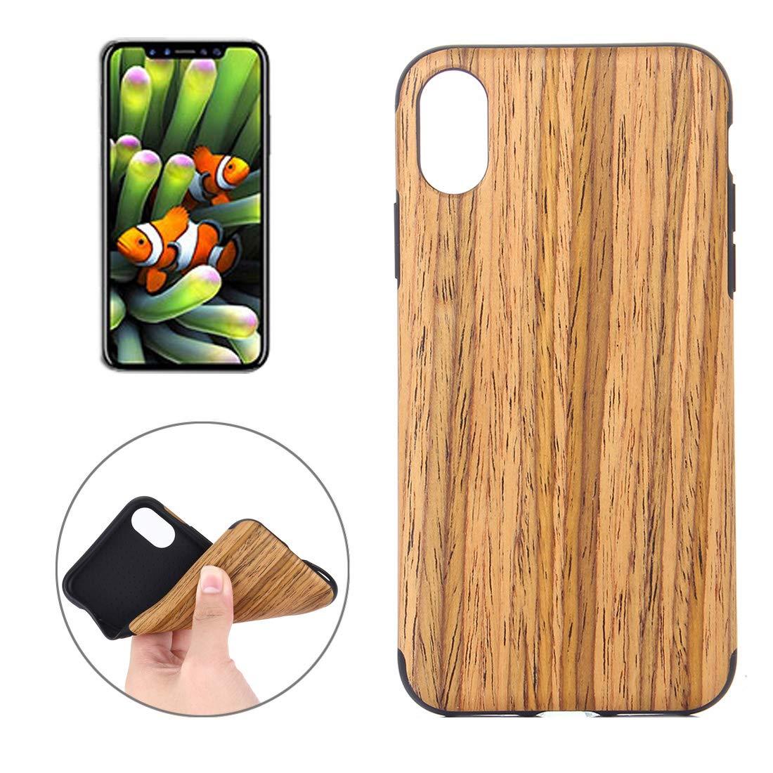 CHENGUANGLONG Accesorios para Celular Silicona Celular Estuches y Fundas for iPhone X/XS Negro Rose Textura de Madera a Prueba de Golpes de TPU Protector Caso de la contraportada (Color : Color4): Amazon.es: