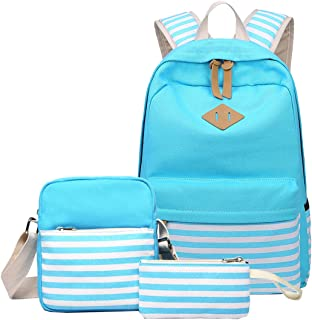 Canvas Stripe Backpack Bookbag with Pencil Case and Shoulder Backpack