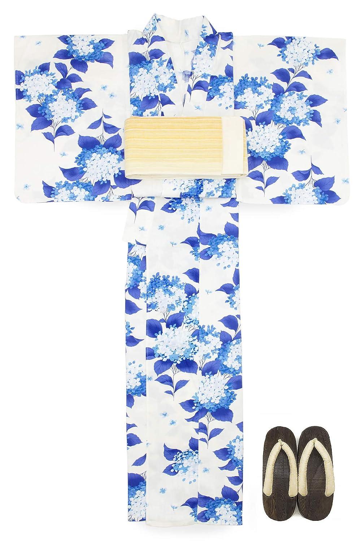 (ソウビエン) 浴衣 セット レディース 白系 オフホワイト 青 ブルー 紫陽花 綿 半幅帯 マクレ ボヌールセゾン
