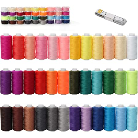 LAMXD 72 Pcs Bobbins and Sewing Thread with Case for Brother Singer Babylock Janome Kenmore Assorted Colors
