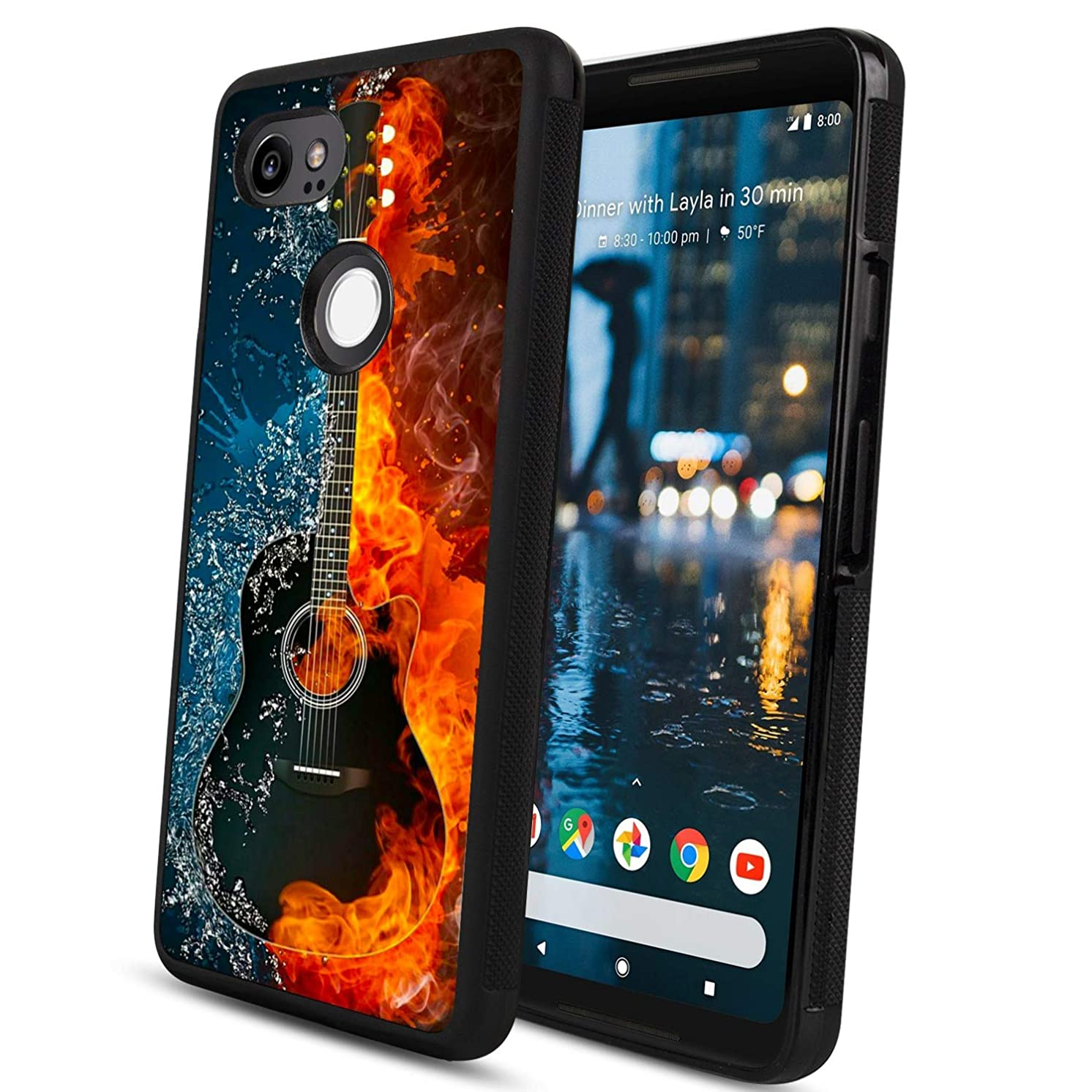 Google Pixel 2 XL Case Guitar on Fire Water Shock Absorption Shockproof Design Black TPU Case Protective Case