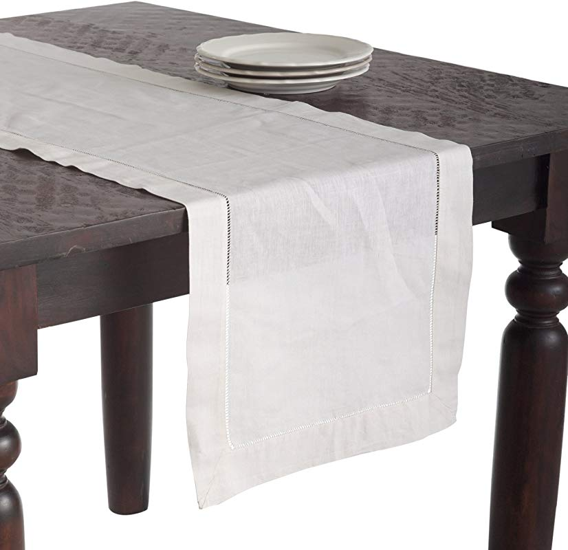 SARO LIFESTYLE 6100 Handmade Classic Hemstitched Design Table Runner 16 X120 Oblong Ecru 16 X 120