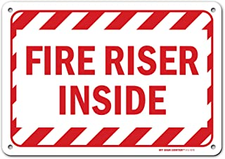 """Fire Sprinkler Riser Sign, Made Out of .040 Rust-Free Aluminum, Indoor/Outdoor Use, UV Protected and Fade-Resistant, 7"""" x ..."""