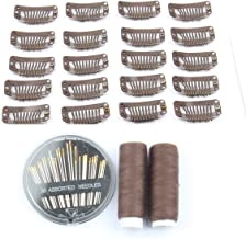 50pcs Wig Clips Metal Snap Clips for Hair Extensions DIY Wig Combs 9-teeth 32mm 1.2g/pc, 2pcs Weaving Thread, 1set/30pcs Needls (Dark Brown)