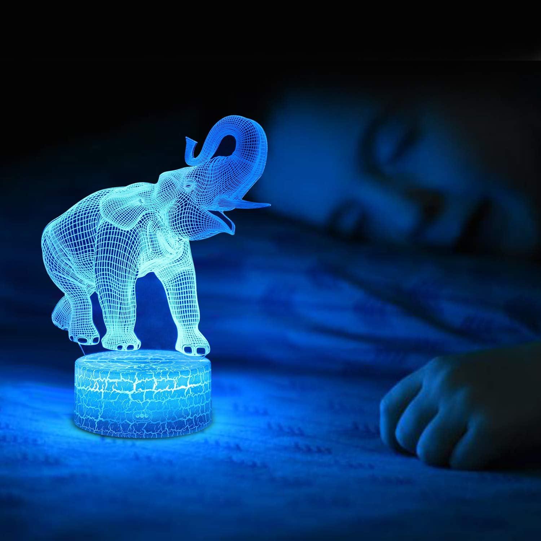Elefant Nachtlicht für Kinder, 8D Illusions Lampe 8 Farben Ändern ...