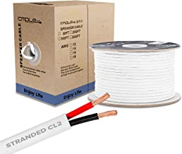 Cmple - 100FT 14AWG Speaker Wire Cable with 2 Conductor Speaker Cable (CCA) Copper Clad Aluminum CL2 Rated In-Wall Speaker Wire for Home Theater & Car Audio - 100 Feet, White