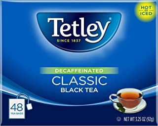 Tetley Black Tea, Decaffeinated Classic, 48 Tea Bags (Pack of 6)