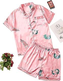 SheIn Women's Plus Cartoon Short Sleeve Button Down Satin Shirt & Shorts Pajama Set