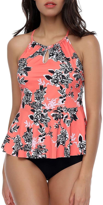 GINVELL Women's Flower Print Halter Neck TwoPiece Ruffle Swimsuit Beach Swimwear Bathing Suit