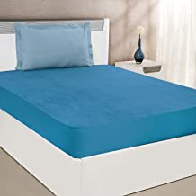 Amazon Brand - Solimo Water Resistant Premium Mattress Protector, 78x72 inches - King Bed Size, Blue
