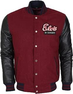 Elvis Preseley Mens Faux Leather Sleeved Biker Style Jacket
