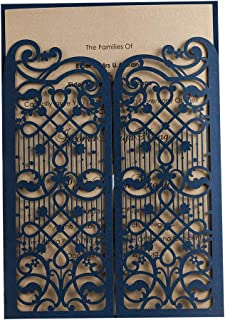 50 WISHMADE Navy Blue Elegant Laser Cut Gate Fold Design Wedding Engagement Invitation Kits Cards Stock, for Bridal Shower Graduation Party Quinceanera Dinner Party with Envelope CW5102